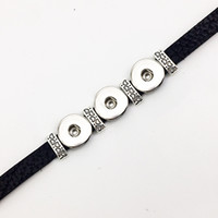 arrival dr - Fashion Rushed New Arrival Stainless Steel Pulseras Sterling Jewelry Retro Leather Snap Button Bracelet Bt120 fit mm mm Snaps party dr