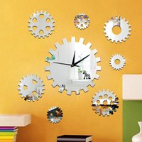 bell background - DIY creative decorative sofa background bell clock precision gear rotating mirror wall clock new European and American fashion