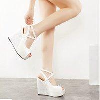 Wholesale 2016 Fashion New cm High Heel Pumps Peep toes cm Platfrom shoes Lady s Summer Wdege Slingbacks Dress shoes