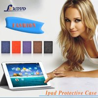 anti flat - Ipad air1 flat leather holster intelligent sleep multi stent ipad air1 leather case whole sale