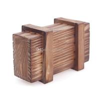 Wholesale 1Pc Box Puzzle Wooden Secret Trick Intelligence Magic Wooden Puzzle Gift A00105 SPDH