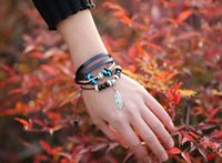 Cheap Hot Multilayer Sweet Casual Cowhide Bracelets Braided Leather Leaves Pendant Bracelet Wood Alloy Beads Charm Bracelet For Couples