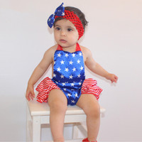 no brand baby star suit - 2016 New American Stars A Sling Jumpsuit Stomachers Two Suit Dress Headband Baby Girl Climbing Clothes Toddler Romper