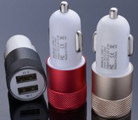 Wholesale Car Charger Metal Dual USB Port Car Charger Universal for Phone Moblie Phone Samsung Galaxy Motorola DHL Free