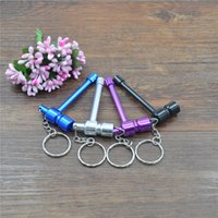 Wholesale X Mini Metal Smoking Pipe Tobacco Pipe Portable Metal Pipe With Key Ring Hang Gift For Friend Color Random