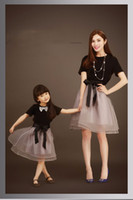 Wholesale Family Set matching mother daughter clothes summer T shirt with a skirt mom and daughter dress clothing bow knot