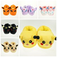 baby doll slippers - 2016 Cartoon Cotton Styles Pikachu Slippers Adults Indoor Home Slipper Winter Warm Shoes
