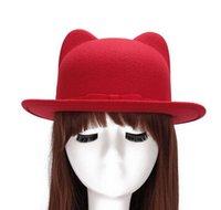 Wholesale Hot sale women s fashion streetwear solid cute style felt fedora hat with ears for women cotton bowler hats