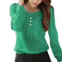 Wholesale Women s Blouses Shirts Chuvivi Apparel Women Pullover Long Sleeve Ruched Detail Button Fake Pockets Shirts