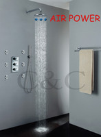 air jet tub - Rainfall Bath Tub Faucet Thermostatic Shower Set Spa Body Massage Spray Jet inch Chrome Shower Head Exclusive Air Drop I007 RA