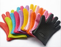 Wholesale 100pcs Silicone Cooking Gloves Microwave Oven Non slip Mitt Heat Resistant Silicone Home Gloves Cooking Baking BBQ gloves Holder jy220