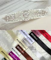 al por mayor cinturón de novia de organza-2016 de novia perlas de cristal de Fajas de la alta calidad 100% imagen real Blanco Verde Negro En Stock Cinturones de novia para la boda que el partido caliente de la venta