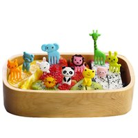 Wholesale 10 set Animal Farm mini cartoon fruit fork sign resin fruit toothpick bento lunch for children decorative plastic sign