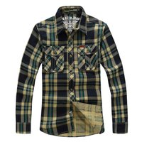Wholesale New Men Plaid Shirt Plus Size For Casual Outdoor Sport Hiking Fishing Long Sleeve Washed Cotton Checked Shirt