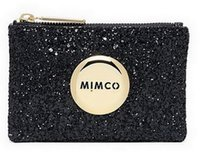 Wholesale FREESHIPPING MIMCO LOVELY BLK GOLD LOGO SPARKS SMALL POUCH COIN POUCH PHONE POUCH TOP QUAILITY