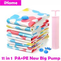 big house clothing - 11PCS Space Saving Vacuum Compressed Storage bags Organizer for Clothes Bedding With New Big Hand Vacuum Pump PA PE Housing Bag
