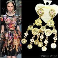baroque pearl earrings - Golden Jewelry Baroque Royal Wind Style Crystal Drop Pearl Rose Flowers Fashion Coin Dangle Earrings