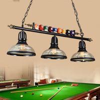 american billiard - Northern Europe LOFT Retro American Style Industry Billiard Room Restaurant Bar Creative Glass Billiards Chandeliers Art Pendant Lights