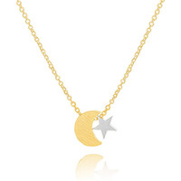 mothers day gift - Mix Color Gold Plated Mothers Day Gift Stainless Steel Unique Moon And Star Charm Necklace Pendant n00127
