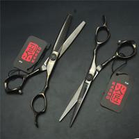 Cheap 9001# 2Pcs Pair 6.0'' 17.5cm Blcak Kasho Hairdressing Scissors JP 440C Cutting +Thinning Shears Professional Human Hair Scissors