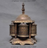 antique metal wheels - Old Tibet Tantra Temple pure bronze Mantras Buddhism Tripitaka text Prayer wheel
