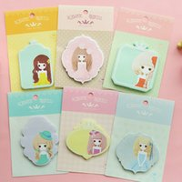 Wholesale Sweet Girls Memo Pad Sticky Notes Memo Notepad School Office Supply Gift Stationery H1122