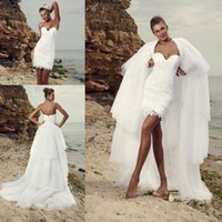 beach tires - Summer Beach Short Wedding Dresses with Detachable Train Chiffon Sweetheart Full Lace Tired Cheap Boho Bridal Gowns for Wedding Sexy