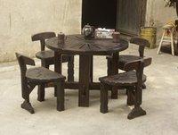Wholesale Outdoor Furniture Wheel Shape Round Wooden Table Garden Set