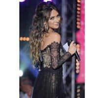 arabian fashion designers - Black Formal Evening Dresses Arabian Designer Off the Shoulder Long Sleeve Thigh High Slit Vestidos De Formatura Prom Gowns