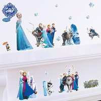 Wholesale Hot Queen Olaf Anna Elsa Wall Sticker Posters Art Cartoon Movie Reine Des Neiges Home Decor Decoration Chambre For Kids Bedroom