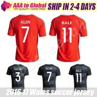 aaron soccer - Top quality Wales Home red Soccer jersey Wales away black GARETH BALE AARON RAMSEY Football shirt