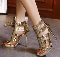 Wholesale Sparkly gold hollow out high heel dress sandals women party shoes ladies prom gown dress size to