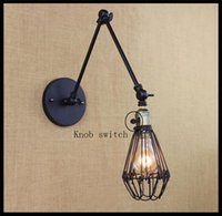ac cage - AC v v New Black cm double swing arms wall lights cage mesh metal shade knob switch luminaria industrial lamparas de techo abajur