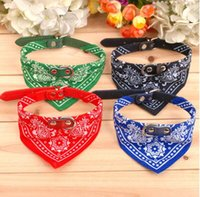 bandana cat collar - Dog Collars Adjustable Pet Dogs Cat Bandana Scarf Collars Neckerchief Brand Supplies New Multi Colors S M L XL In Stock