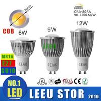 Wholesale x6pcs Factory SALE LED COB Spot Light MR16 GU5 GU10 B22 E14 E27 Dimmable W W W AC V V LED Spotlights Led Lamp Spotlight bulbs