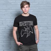 band led zeppelin - New Summer Heavy Metal Men T shirt Rock T shirt Man D t shirt Fashion Led Zeppelin Band Hip Hop Cotton Black T shirt