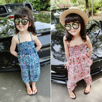 Wholesale New Summer Baby Girls Floral One piece Long Trousers Kids Beach Holiday Wide Leg Pants Cross Pants Toddler Children Bohemia Cargo Jumpsuit