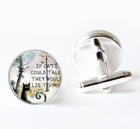 Wholesale Black Cat cuff links If Cats could talk they would lie to you quote cufflinks Black Cat cufflinks handcrafted cufflinks