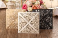 Wholesale Hot Rustic Gold Wedding Invitations Laser Cut Invitation Cards With Insert Paper Blank Card Envelope