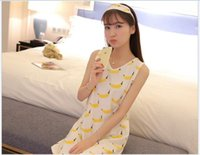 bell patch - Ms summer modal nightgown vest cartoon South Korea banana loose patch nightgown