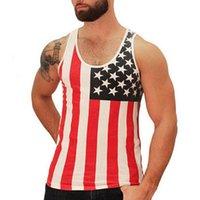 athletic undershirt - Men Hiphop Fashion Tank Tops American Flag Printed Vest Undershirt for Men Sleeveless Sport Athletic Sous Vetement Homme