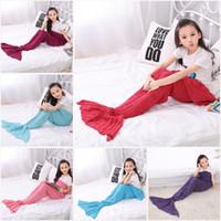 Wholesale 140 CM Kids Mermaid Tail Blankets Acrylic Knitted Blanket Girls Mermaid Sofa Mat Crochet Blanket Gift For Kids