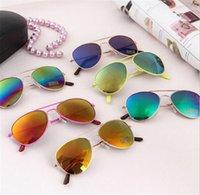 aviator sunglasses children - Kids Sunglass boy Sunglass Children Beach Supplies UV protective eyewear baby sunglasses for boys Girls sunshades kids aviator epacket free