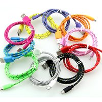 Wholesale 1m m Round Fabric Braided Nylon Data Sync USB Cable ft ft ft Cord Charger Charging samsung s4 s5 S6 S7 Note blackberry LG HTC