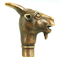 animal walking sticks - Asian Chinese Old Bronze Hand Carved Collect Sheep Statue Walking Stick Head
