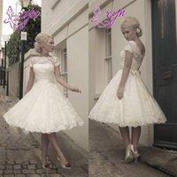 Wholesale Short A Line Tea Length Lace Wedding Dresses With Cap Sleeve Detachable Sash s Vintage Bridal Gowns Plus Size Formal Dress
