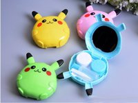 Wholesale DHL free stamps to cute cartoon Pikachu design contact lenses box case lens partner contact lenses equipment
