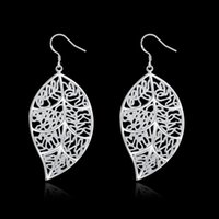 Wholesale Fashion Women s Silver Plated Leaf Hollow Stud Earrings Jewelry LKNSPCE128