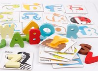 animal preschool games - set Baby Wooden Toys Alphabet Letter Cards Game Learning English Early Education Preschool ABC Cognitive Toy Animal Puzzle
