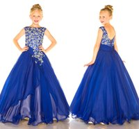 Wholesale Cheap Royal Blue Girls Pageant Dresses Hot Pageant Dress for Kids Custom Crystal Beads Chiffon A Line Party Flowers Girls Gowns BA0144